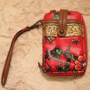 Sakroots Red Wallet Wristlet with Floral Pattern